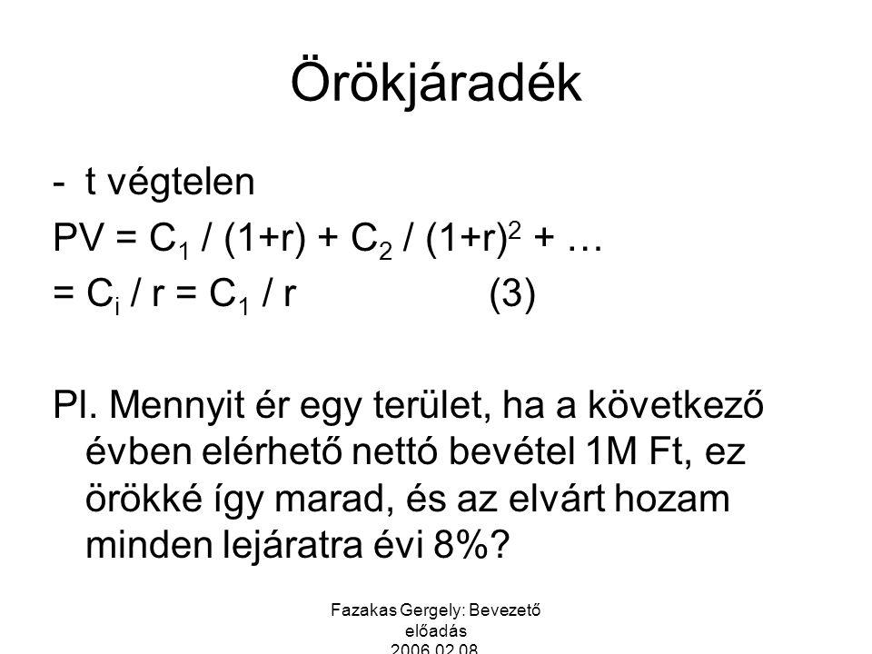Fazakas Gergely: Bevezető előadás 2006.02.08. Örökjáradék -t végtelen PV = C 1 / (1+r) + C 2 / (1+r) 2 + … = C i / r = C 1 / r(3) Pl. Mennyit ér egy t
