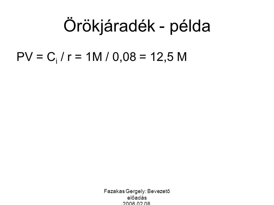 Fazakas Gergely: Bevezető előadás 2006.02.08. Örökjáradék - példa PV = C i / r = 1M / 0,08 = 12,5 M