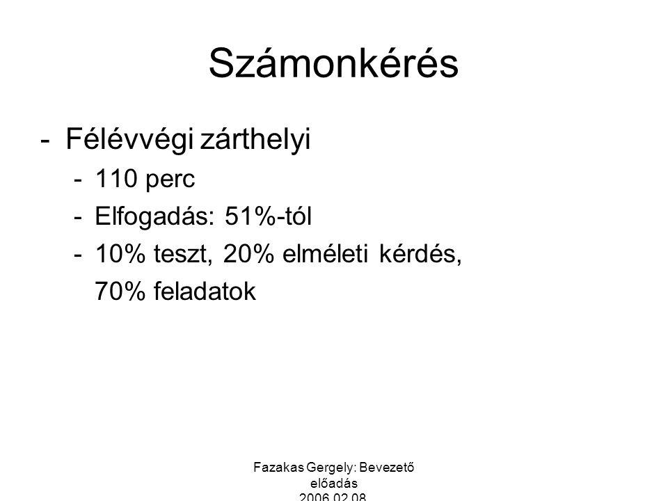 Fazakas Gergely: Bevezető előadás 2006.02.08. Számonkérés -Félévvégi zárthelyi -110 perc -Elfogadás: 51%-tól -10% teszt, 20% elméleti kérdés, 70% fela