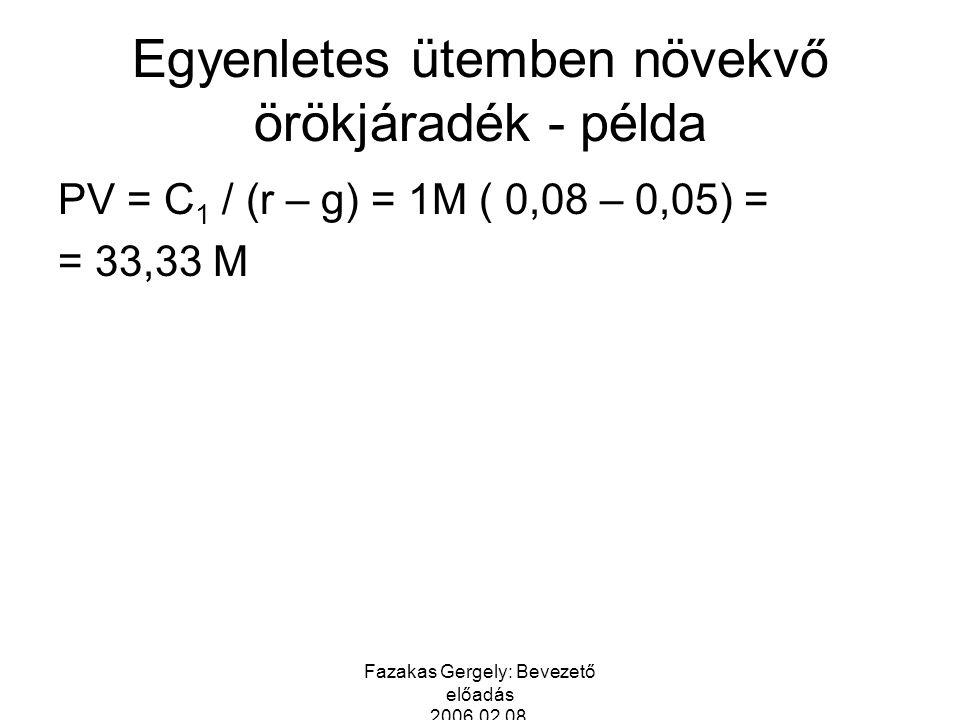 Fazakas Gergely: Bevezető előadás 2006.02.08. Egyenletes ütemben növekvő örökjáradék - példa PV = C 1 / (r – g) = 1M ( 0,08 – 0,05) = = 33,33 M
