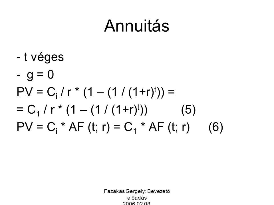 Fazakas Gergely: Bevezető előadás 2006.02.08. Annuitás - t véges -g = 0 PV = C i / r * (1 – (1 / (1+r) t )) = = C 1 / r * (1 – (1 / (1+r) t ))(5) PV =