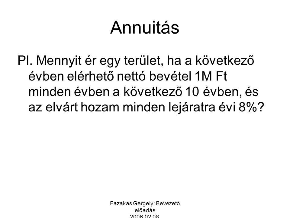 Fazakas Gergely: Bevezető előadás 2006.02.08. Annuitás Pl. Mennyit ér egy terület, ha a következő évben elérhető nettó bevétel 1M Ft minden évben a kö