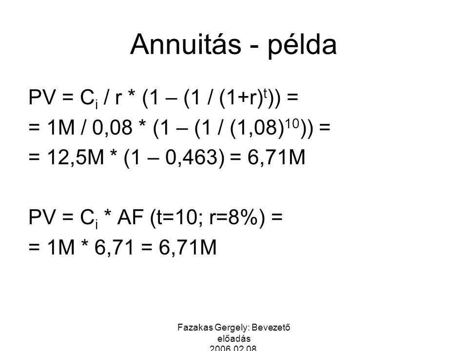 Fazakas Gergely: Bevezető előadás 2006.02.08. Annuitás - példa PV = C i / r * (1 – (1 / (1+r) t )) = = 1M / 0,08 * (1 – (1 / (1,08) 10 )) = = 12,5M *