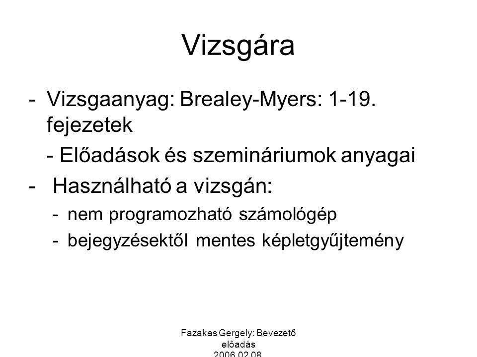 Fazakas Gergely: Bevezető előadás 2006.02.08. Vizsgára -Vizsgaanyag: Brealey-Myers: 1-19. fejezetek - Előadások és szemináriumok anyagai - Használható