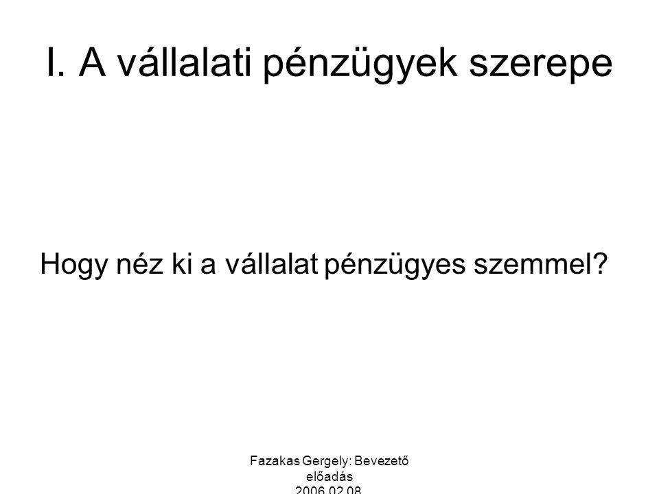 Fazakas Gergely: Bevezető előadás 2006.02.08. I. A vállalati pénzügyek szerepe Hogy néz ki a vállalat pénzügyes szemmel?