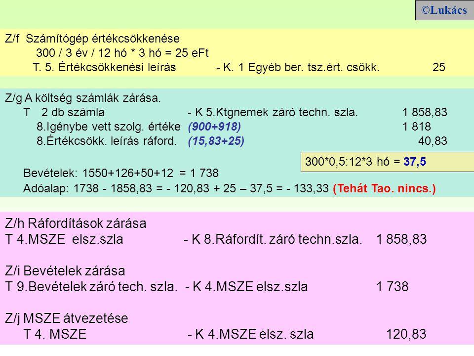 Z/h Ráfordítások zárása T 4.MSZE elsz.szla - K 8.Ráfordít.