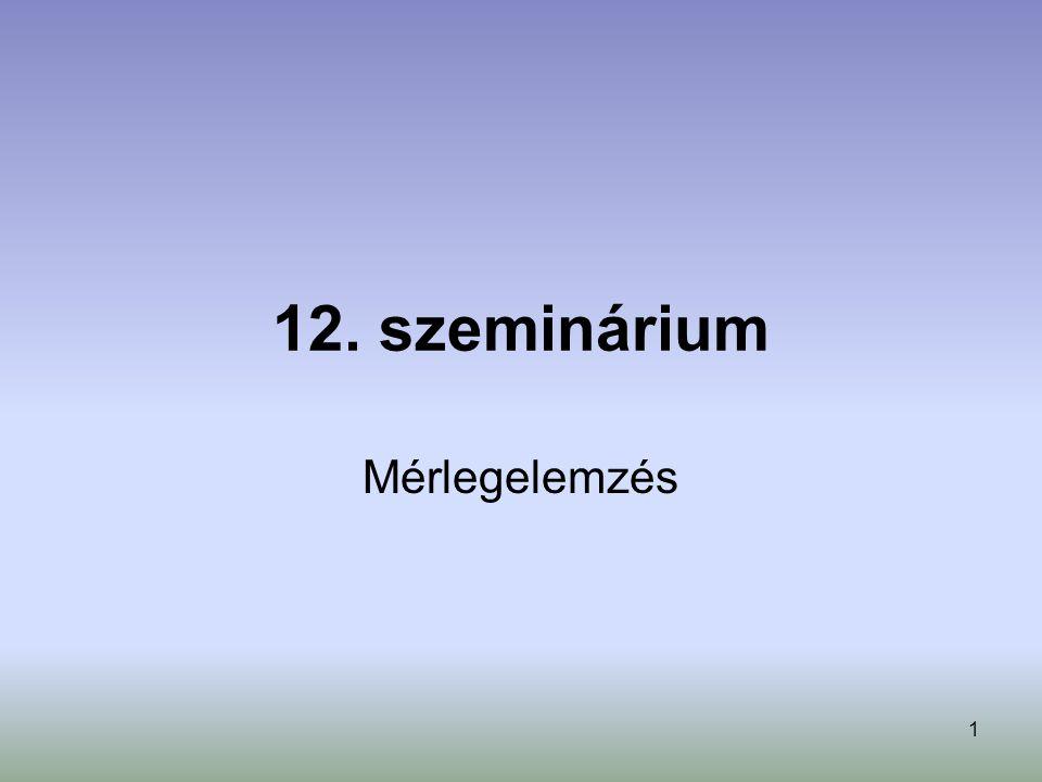 1 12. szeminárium Mérlegelemzés