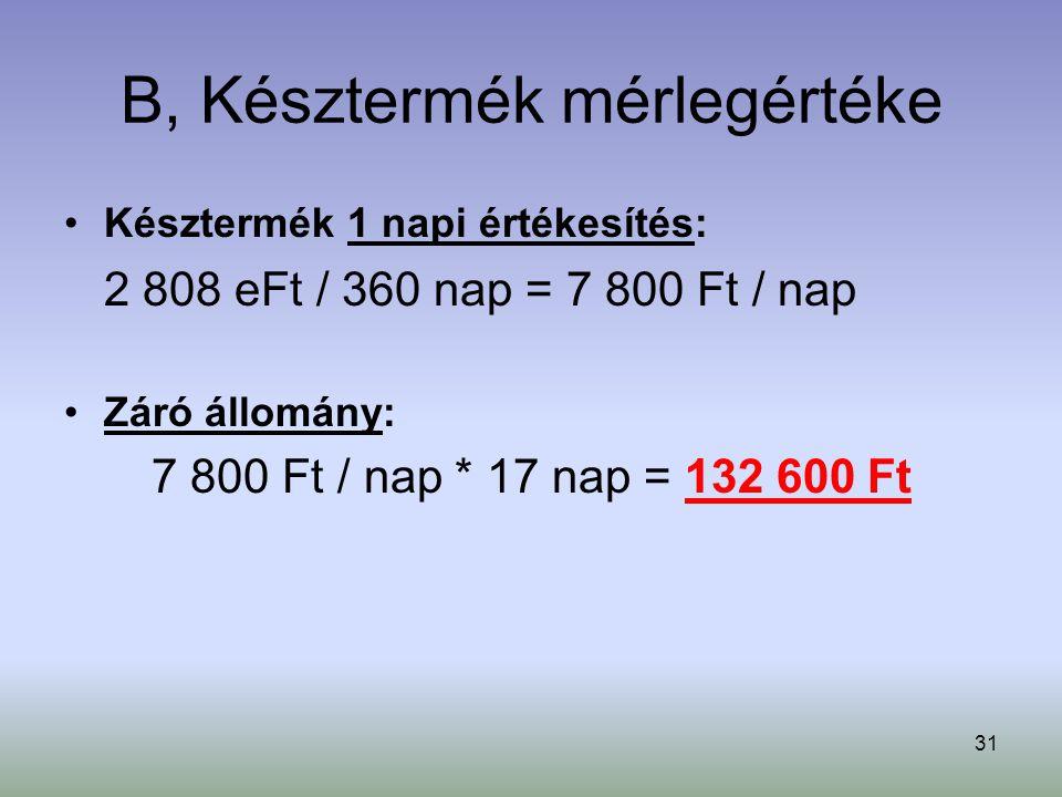31 B, Késztermék mérlegértéke Késztermék 1 napi értékesítés: 2 808 eFt / 360 nap = 7 800 Ft / nap Záró állomány: 7 800 Ft / nap * 17 nap = 132 600 Ft