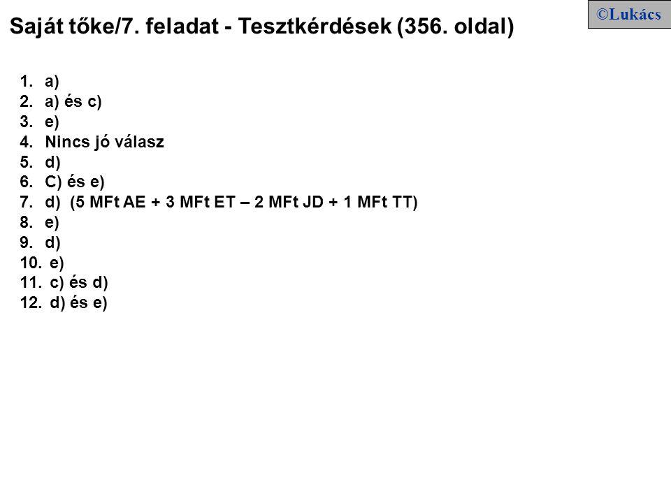 Saját tőke/7. feladat - Tesztkérdések (356. oldal) 1.a) 2.a) és c) 3.e) 4.Nincs jó válasz 5.d) 6.C) és e) 7.d) (5 MFt AE + 3 MFt ET – 2 MFt JD + 1 MFt