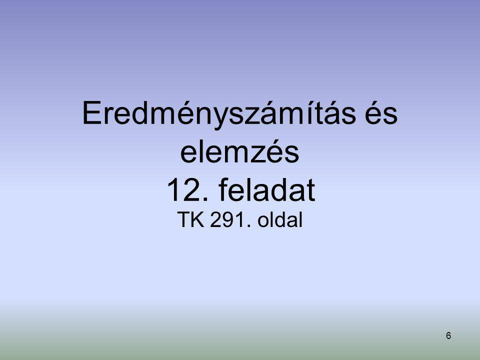 7 Megnevezés BázisidőszakTárgyidőszak∆F = F 1 -F 0 árbev.költségF0F0 árbev.költségF1F1 I.
