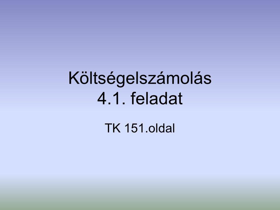 Költségelszámolás 4.1. feladat TK 151.oldal