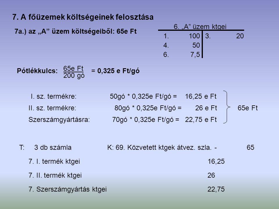 """7a.) az """"A"""" üzem költségeiből: 65e Ft 1. 100 4. 50 6. 7,5 3. 20 6. """"A"""" üzem ktgei Pótlékkulcs: 65e Ft 200 gó = 0,325 e Ft/gó I. sz. termékre: II. sz."""
