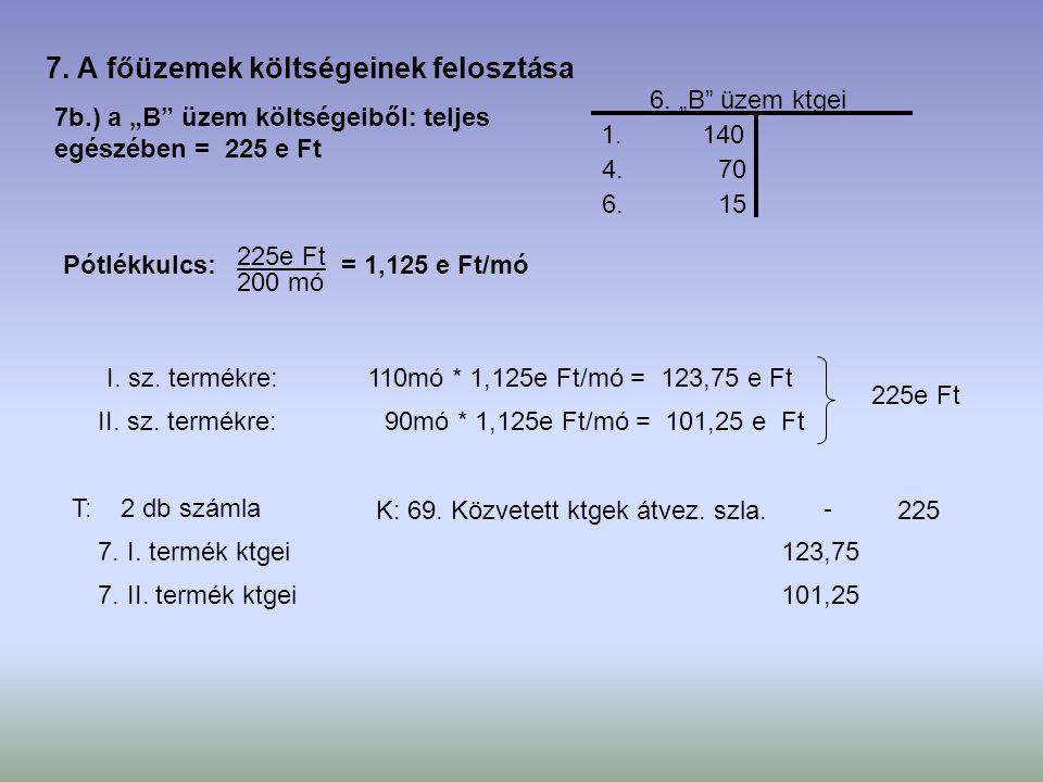 """7b.) a """"B"""" üzem költségeiből: teljes egészében = 225 e Ft 1. 140 6. """"B"""" üzem ktgei Pótlékkulcs: 225e Ft 200 mó = 1,125 e Ft/mó I. sz. termékre: II. sz"""