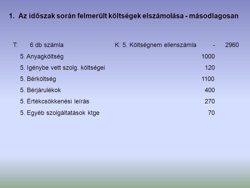 T: 6 db számla- 5. Anyagköltség 1000 5. Igénybe vett szolg. költségei 120 5. Bérköltség 1100 5. Bérjárulékok 400 5. Értékcsökkenési leírás 270 5. Egyé
