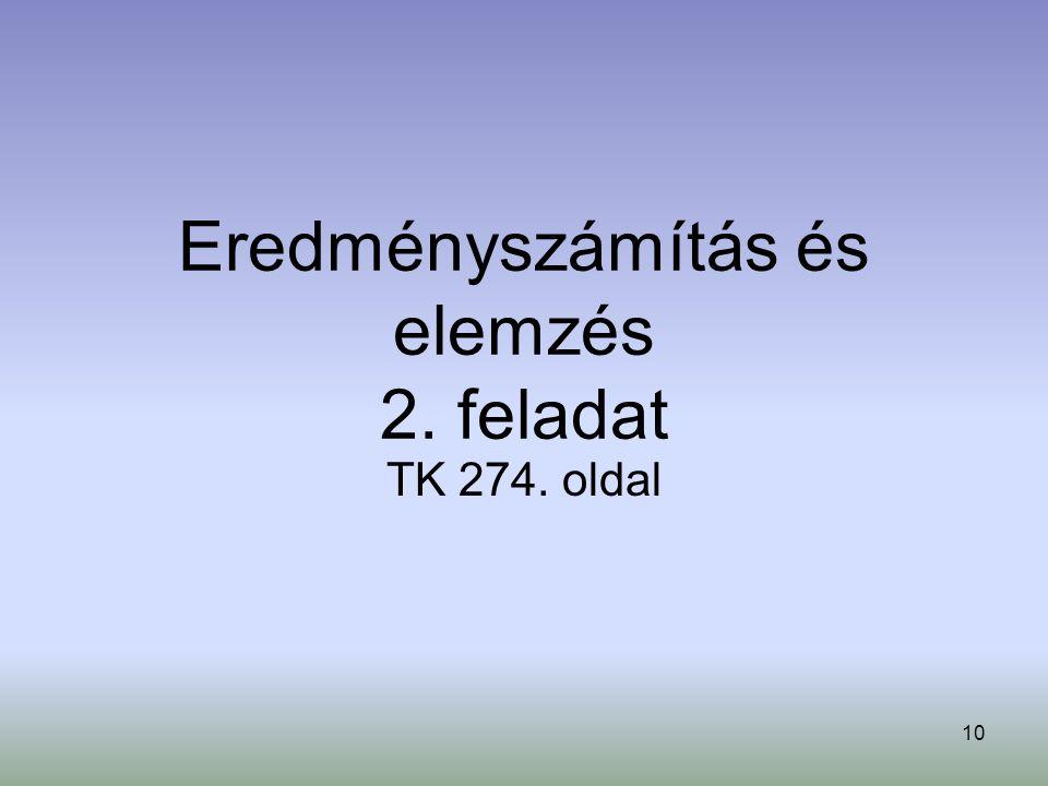 10 Eredményszámítás és elemzés 2. feladat TK 274. oldal