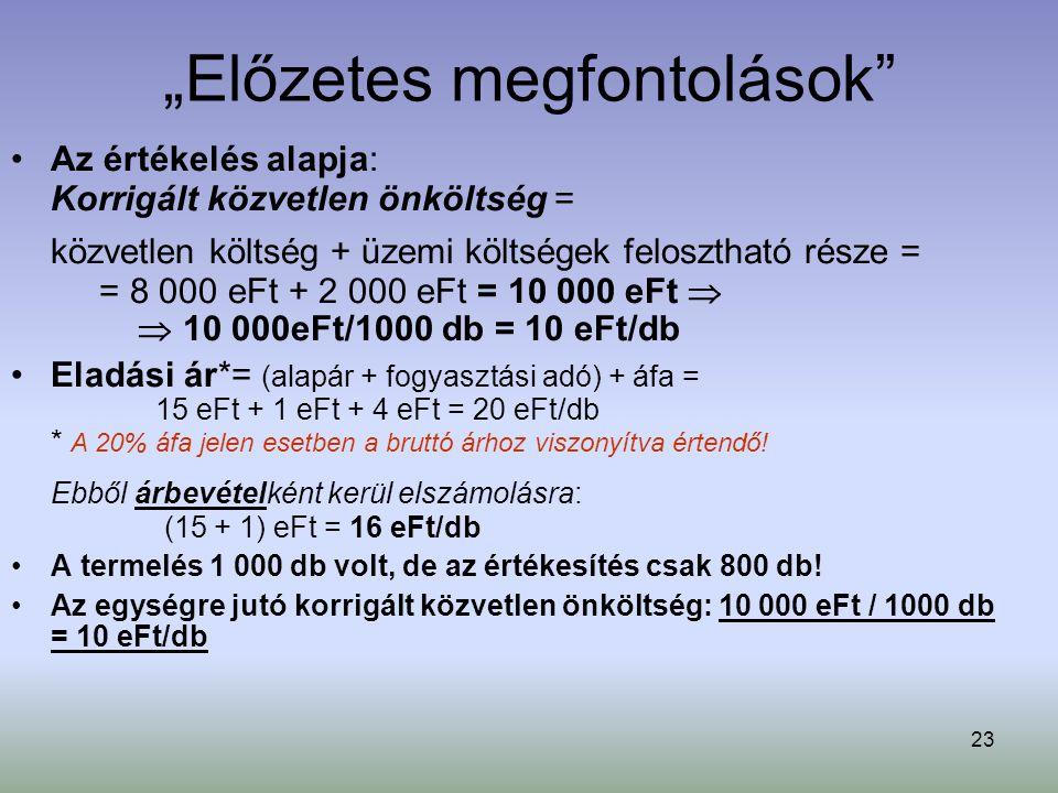 """23 """"Előzetes megfontolások"""" Az értékelés alapja: Korrigált közvetlen önköltség = közvetlen költség + üzemi költségek felosztható része = = 8 000 eFt +"""