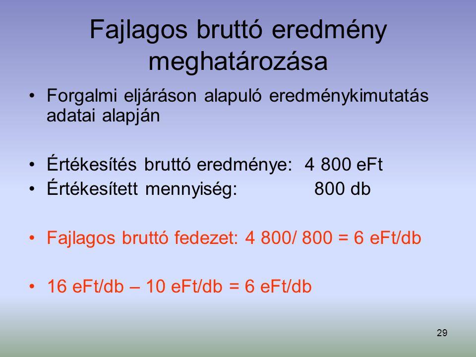 29 Fajlagos bruttó eredmény meghatározása Forgalmi eljáráson alapuló eredménykimutatás adatai alapján Értékesítés bruttó eredménye: 4 800 eFt Értékesí