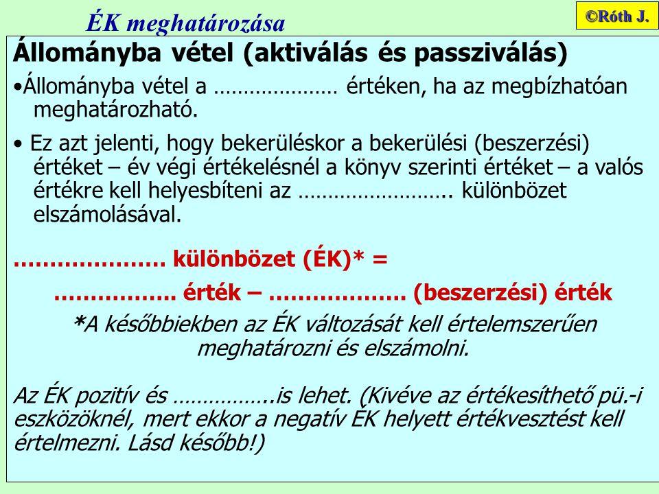 ÉK meghatározása Állományba vétel (aktiválás és passziválás) Állományba vétel a ………………… értéken, ha az megbízhatóan meghatározható.