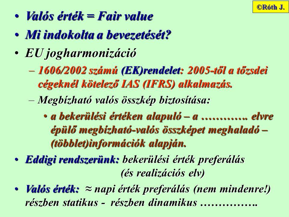 Valós érték = Fair valueValós érték = Fair value Mi indokolta a bevezetését?Mi indokolta a bevezetését.