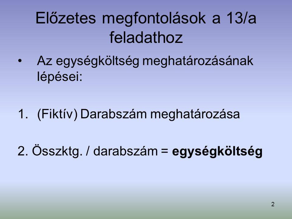 2 Előzetes megfontolások a 13/a feladathoz Az egységköltség meghatározásának lépései: 1.(Fiktív) Darabszám meghatározása 2. Összktg. / darabszám = egy
