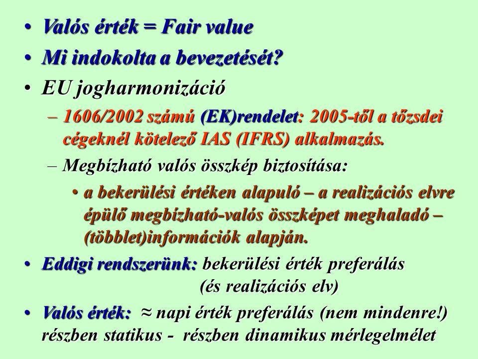 Valós érték alkalmazása és fogalma Alkalmazása: nem kötelező (tehát választható) pénzügyi instrumentumokra (kivételekkel)Alkalmazása: nem kötelező (tehát választható) pénzügyi instrumentumokra (kivételekkel) Már a 2003.