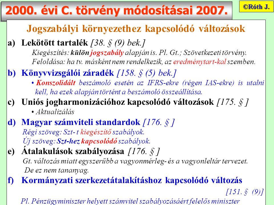 2000. évi C. törvény módosításai 2007. Jogszabályi környezethez kapcsolódó változások a)Lekötött tartalék [38. § (9) bek.] Kiegészítés: külön jogszabá