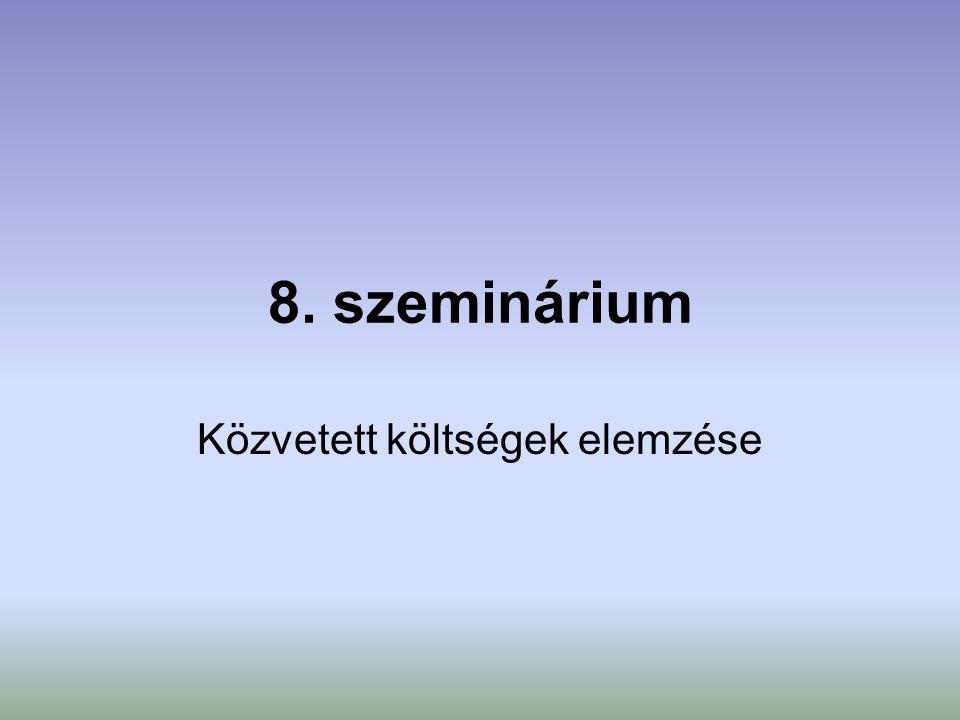 8. szeminárium Közvetett költségek elemzése