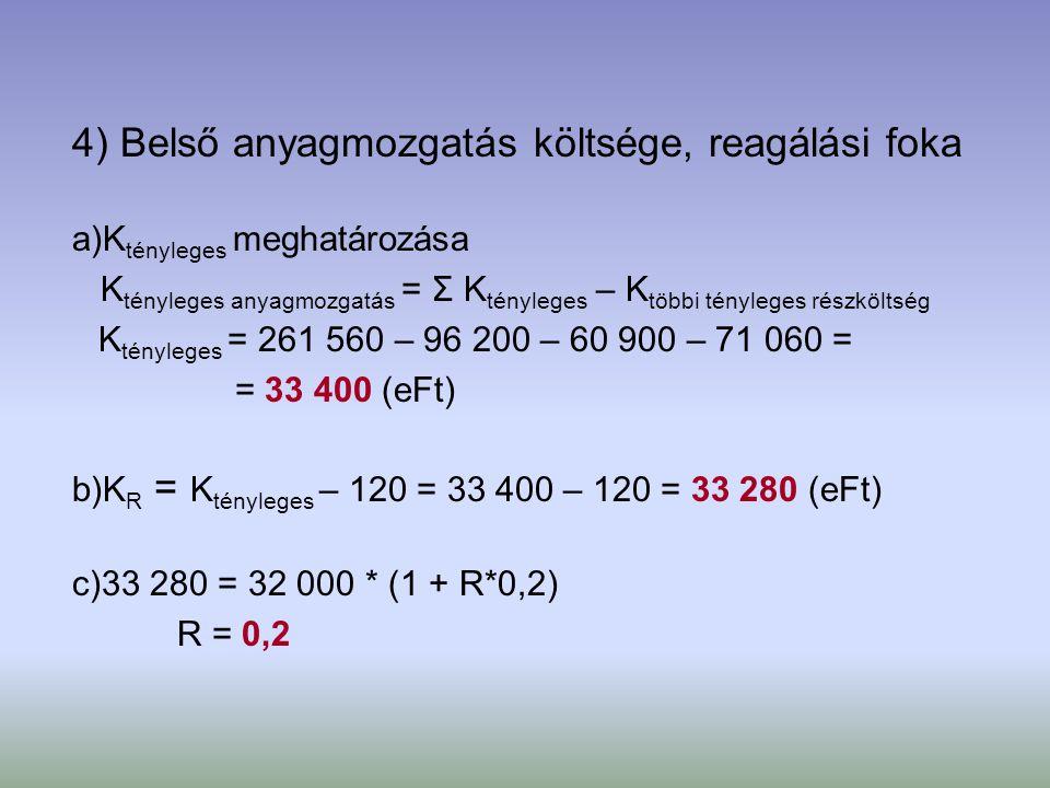 4) Belső anyagmozgatás költsége, reagálási foka a)K tényleges meghatározása K tényleges anyagmozgatás = Σ K tényleges – K többi tényleges részköltség