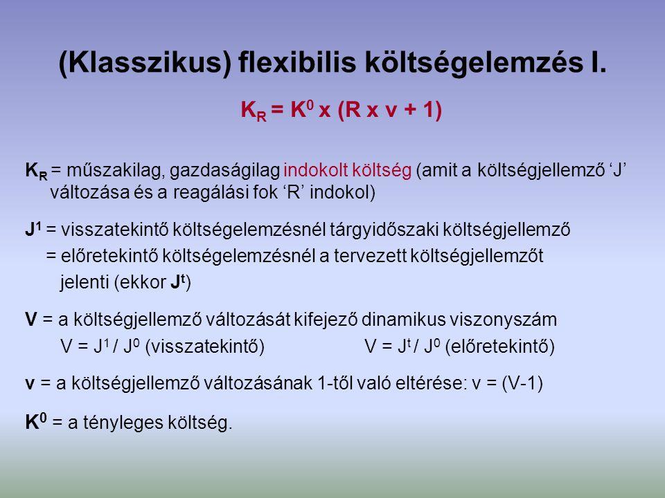 (Klasszikus) flexibilis költségelemzés I. K R = K 0 x (R x v + 1) K R = műszakilag, gazdaságilag indokolt költség (amit a költségjellemző 'J' változás