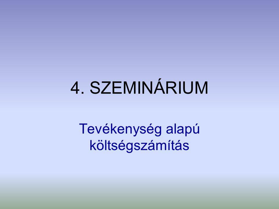 4. SZEMINÁRIUM Tevékenység alapú költségszámítás