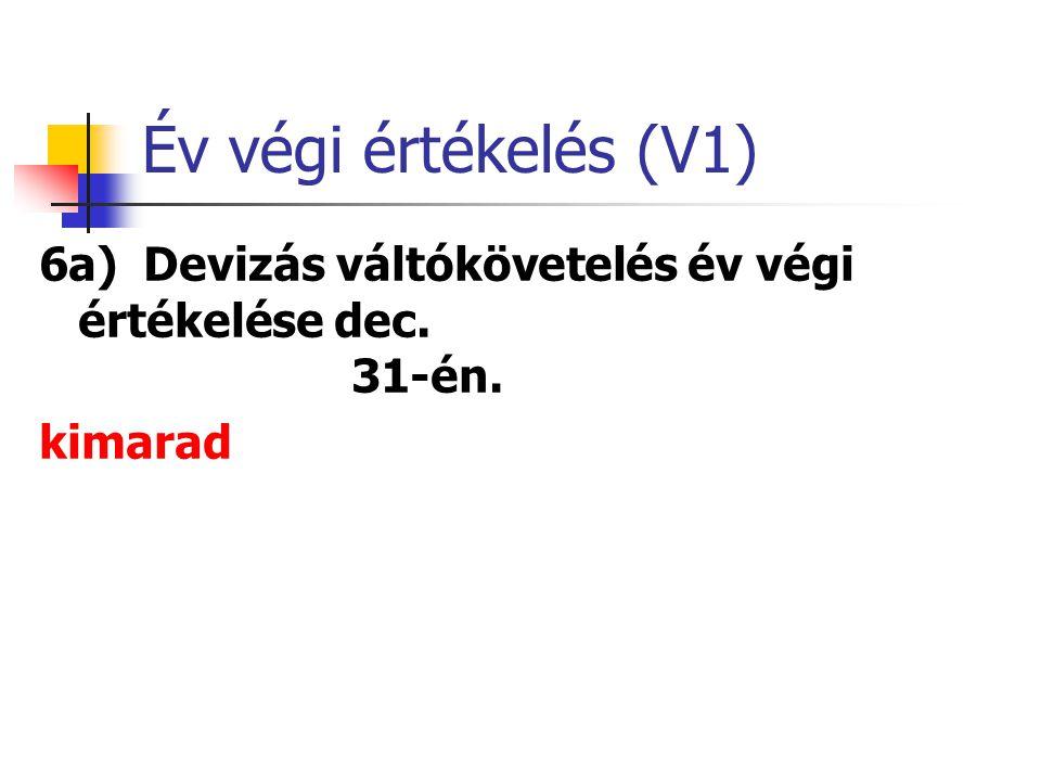 V5 váltóadós felszámolása 7a)Behajthatatlan követelés (V5 miatt részleges behajthatatlanság) 900 * ( 1 – 0,6) = 360 eFt.