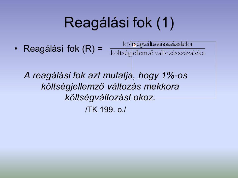 Reagálási fok (1) Reagálási fok (R) = A reagálási fok azt mutatja, hogy 1%-os költségjellemző változás mekkora költségváltozást okoz. /TK 199. o./