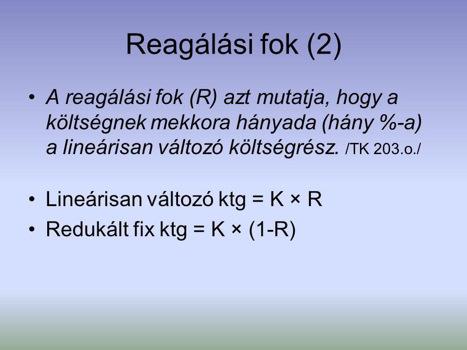 Reagálási fok (2) A reagálási fok (R) azt mutatja, hogy a költségnek mekkora hányada (hány %-a) a lineárisan változó költségrész. /TK 203.o./ Lineáris