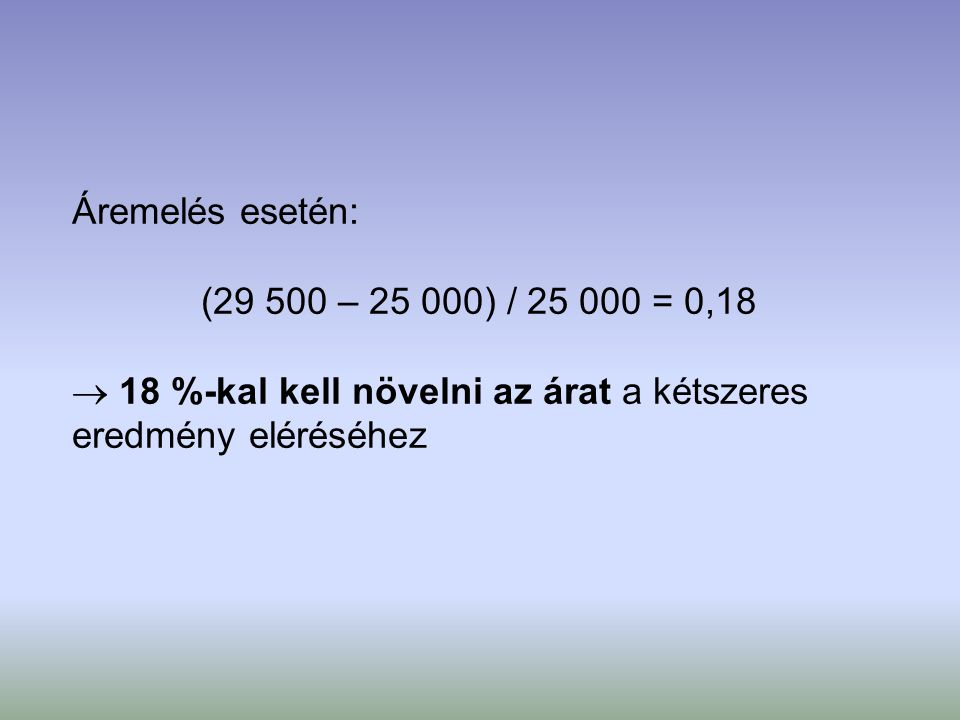 Áremelés esetén: (29 500 – 25 000) / 25 000 = 0,18  18 %-kal kell növelni az árat a kétszeres eredmény eléréséhez