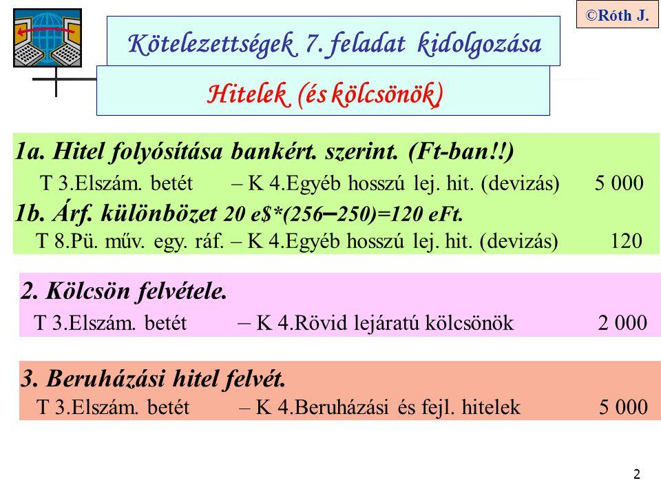 2 ©Róth J.Kötelezettségek 7. feladat kidolgozása Hitelek (és kölcsönök) 2.
