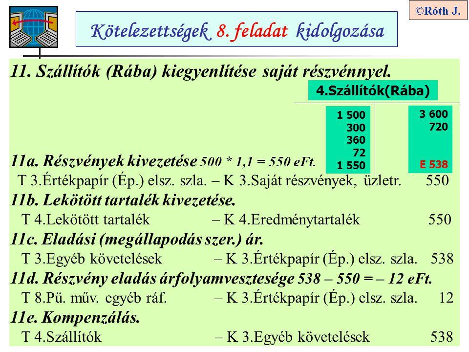 9 ©Róth J.Kötelezettségek 8. feladat kidolgozása 11.