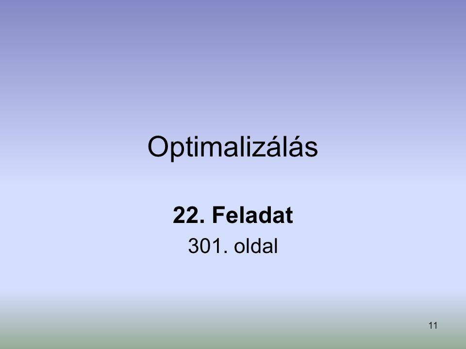 11 Optimalizálás 22. Feladat 301. oldal