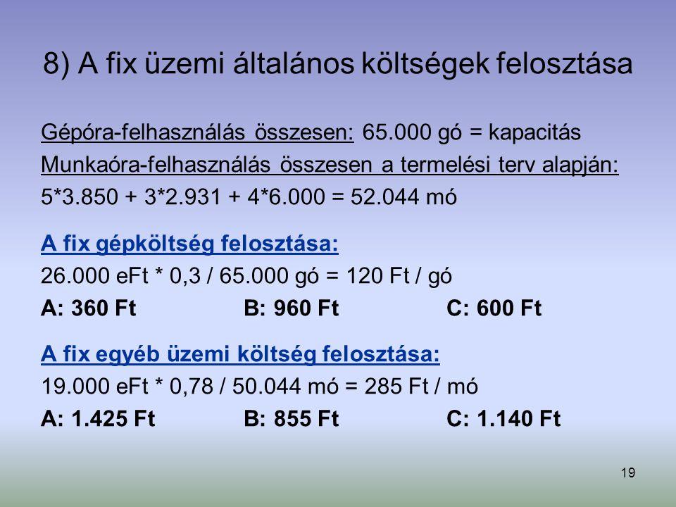 19 8) A fix üzemi általános költségek felosztása Gépóra-felhasználás összesen: 65.000 gó = kapacitás Munkaóra-felhasználás összesen a termelési terv alapján: 5*3.850 + 3*2.931 + 4*6.000 = 52.044 mó A fix gépköltség felosztása: 26.000 eFt * 0,3 / 65.000 gó = 120 Ft / gó A: 360 FtB: 960 FtC: 600 Ft A fix egyéb üzemi költség felosztása: 19.000 eFt * 0,78 / 50.044 mó = 285 Ft / mó A: 1.425 FtB: 855 FtC: 1.140 Ft