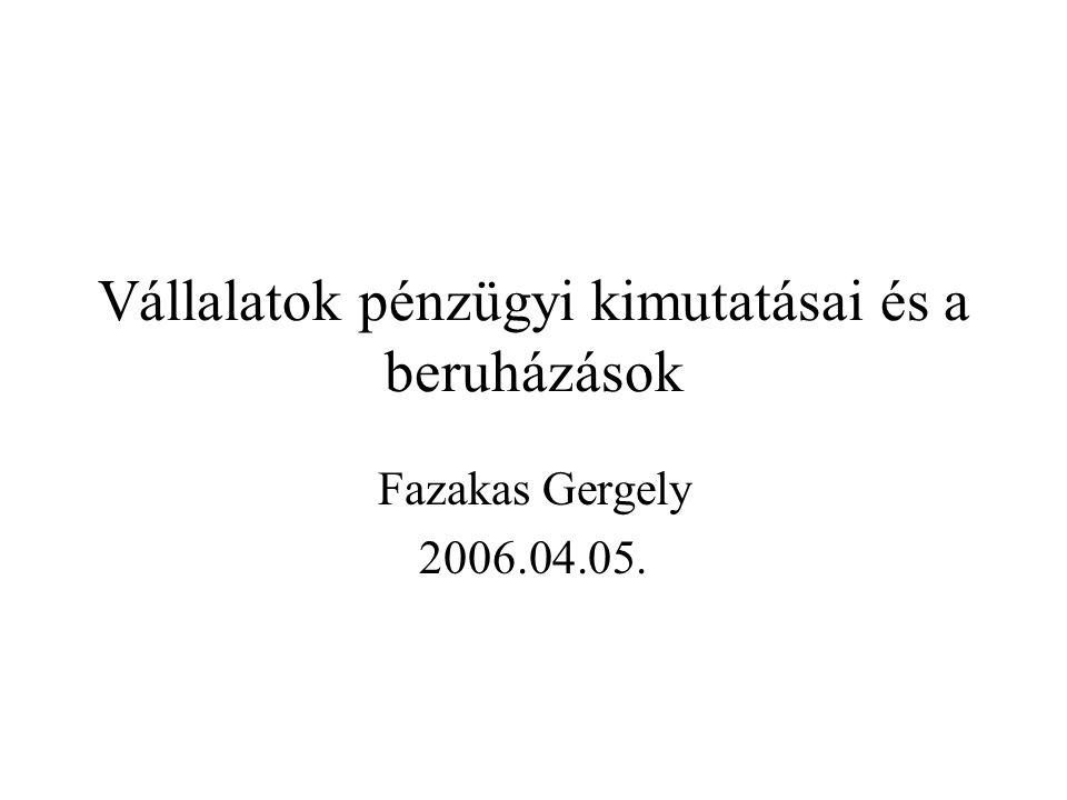 Vállalatok pénzügyi kimutatásai és a beruházások Fazakas Gergely 2006.04.05.