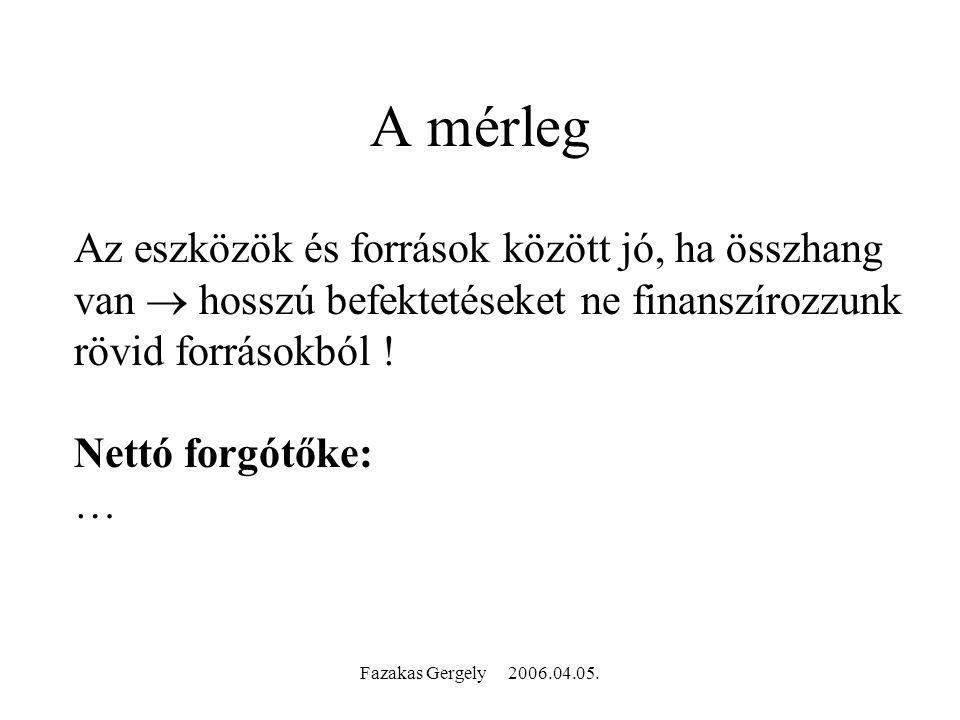 Fazakas Gergely 2006.04.05. A mérleg Az eszközök és források között jó, ha összhang van  hosszú befektetéseket ne finanszírozzunk rövid forrásokból !