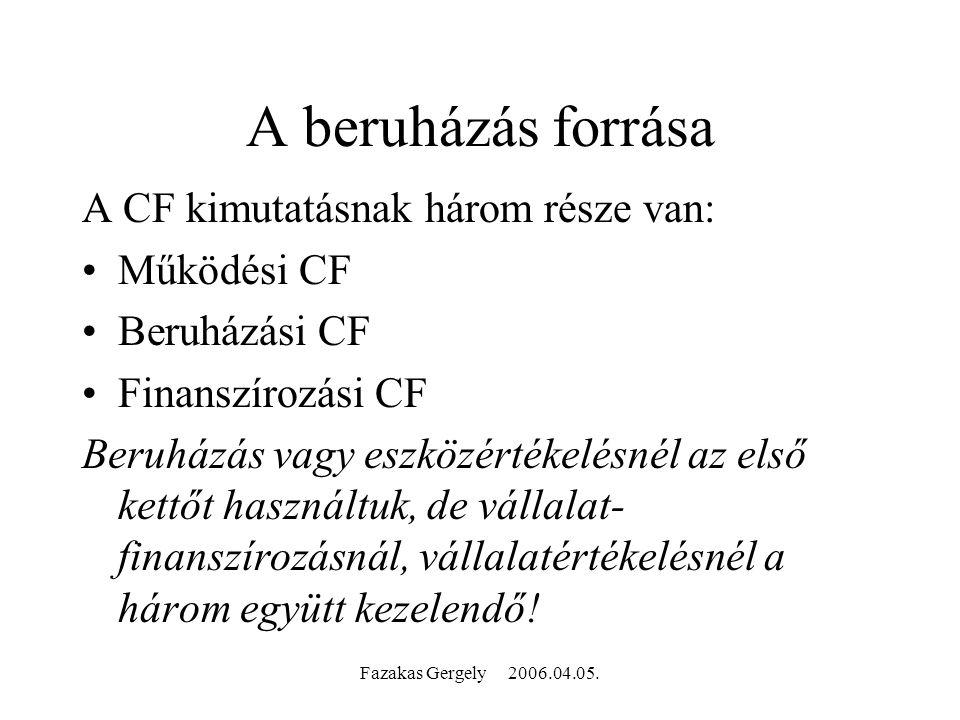 Fazakas Gergely 2006.04.05. A beruházás forrása A CF kimutatásnak három része van: Működési CF Beruházási CF Finanszírozási CF Beruházás vagy eszközér