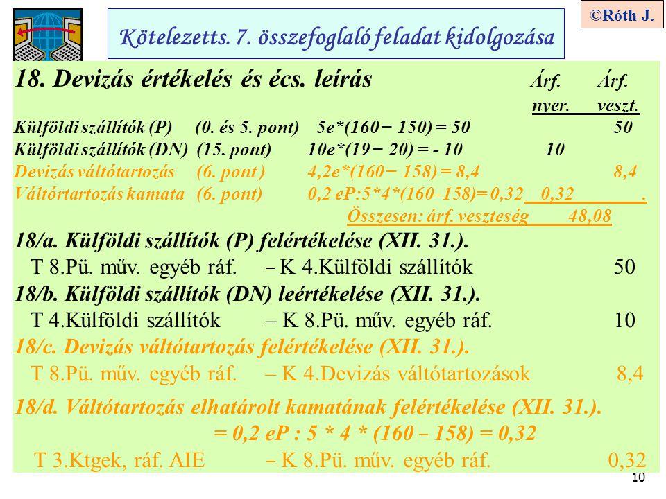 10 ©Róth J. Kötelezetts. 7. összefoglaló feladat kidolgozása 18. Devizás értékelés és écs. leírás Árf. Árf. nyer. veszt. Külföldi szállítók (P) (0. és