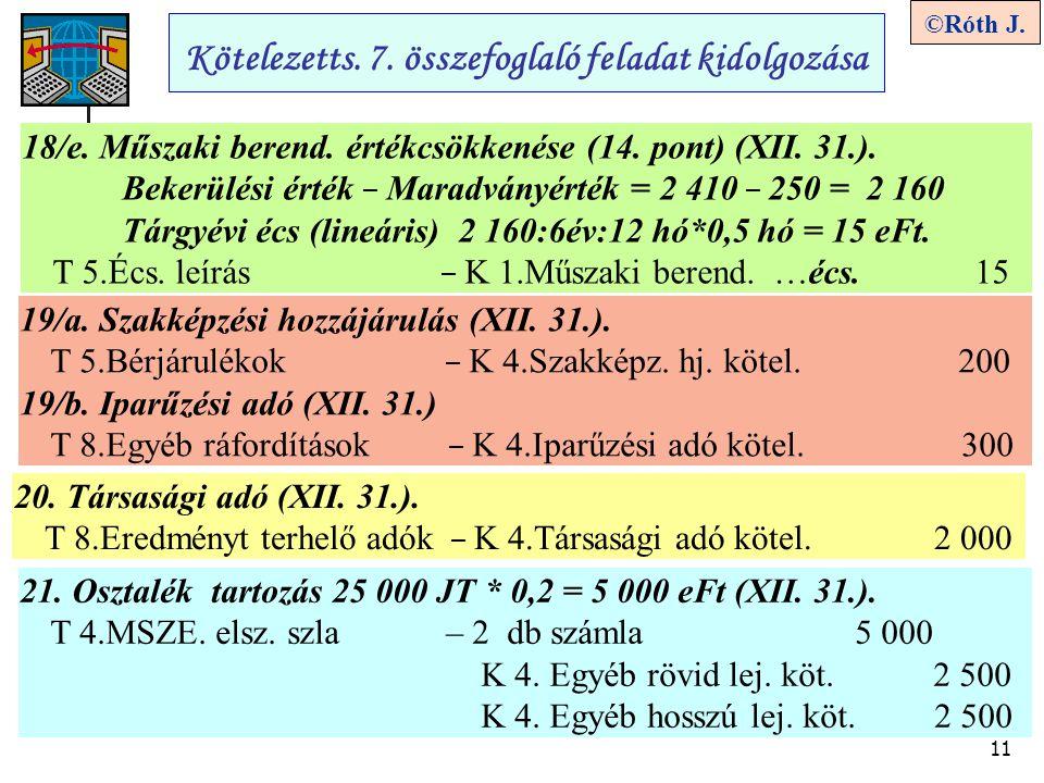 11 ©Róth J. Kötelezetts. 7. összefoglaló feladat kidolgozása 18/e. Műszaki berend. értékcsökkenése (14. pont) (XII. 31.). Bekerülési érték – Maradvány