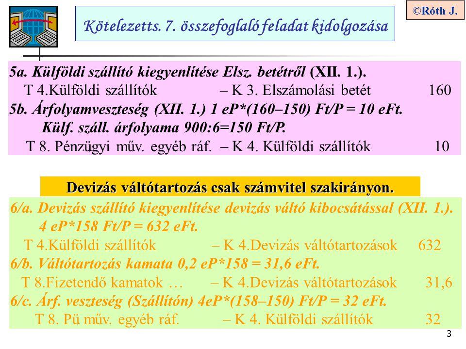 3 ©Róth J. Kötelezetts. 7. összefoglaló feladat kidolgozása 5a. Külföldi szállító kiegyenlítése Elsz. betétről (XII. 1.). T 4.Külföldi szállítók – K 3