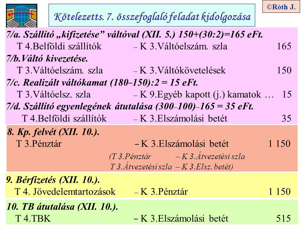 """4 ©Róth J. Kötelezetts. 7. összefoglaló feladat kidolgozása 7/a. Szállító """"kifizetése"""" váltóval (XII. 5.) 150+(30:2)=165 eFt. T 4.Belföldi szállítók –"""