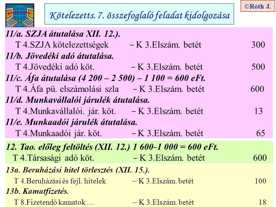 5 ©Róth J. Kötelezetts. 7. összefoglaló feladat kidolgozása 11/a. SZJA átutalása XII. 12.). T 4.SZJA kötelezettségek – K 3.Elszám. betét 300 11/b. Jöv