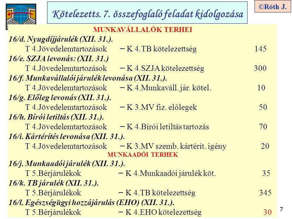 7 ©Róth J. Kötelezetts. 7. összefoglaló feladat kidolgozása MUNKAVÁLLALÓK TERHEI 16/d. Nyugdíjjárulék (XII. 31.). T 4.Jövedelemtartozások – K 4.TB köt