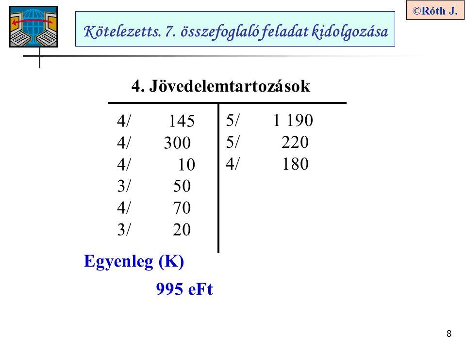 8 ©Róth J. Kötelezetts. 7. összefoglaló feladat kidolgozása 4. Jövedelemtartozások 5/1 190 5/ 220 4/ 180 4/ 145 4/300 4/ 10 3/ 50 4/ 70 3/ 20 Egyenleg