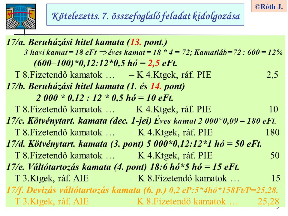 9 ©Róth J. Kötelezetts. 7. összefoglaló feladat kidolgozása 17/a. Beruházási hitel kamata (13. pont.) 3 havi kamat = 18 eFt  éves kamat = 18 * 4 = 72