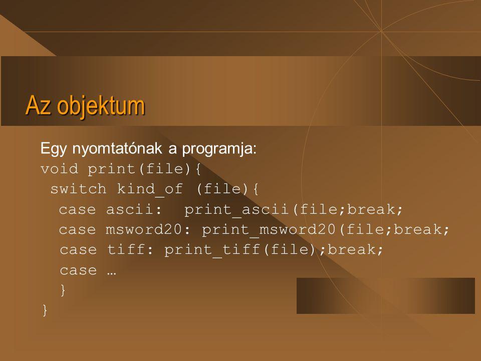 Az objektum A nyomtatni kívánt állománynak mint objektumnak tartalmaznia kell saját szerkezeti jellemzőit.